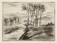 paysage à osny. (d. 70) by camille pissarro