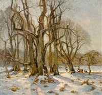 rehe in winterlandschaft by martin s. rasmussen