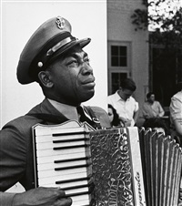 a weeping graham w. jackson, sr. playing his accordion for deceased president franklin d. roosevelt in warm springs, georgia by edward clark