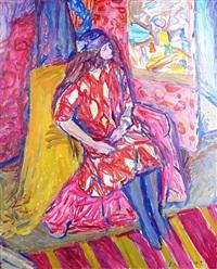 jeune fille à la robe rouge by emile sabouraud
