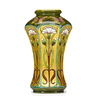 faceted vase-decorated with carnations and butterflies by optat milet