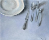 cutlery and plate on table by jacob carmely