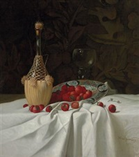 still life with wine bottle and strawberries by milne ramsey