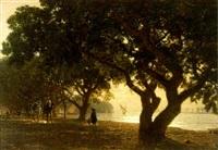 l'allée de choubrah au caire by léon adolphe auguste belly
