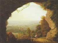 huntsmen resting at the mouth of a grotto, an extensive landscape beyond by anton albers the elder