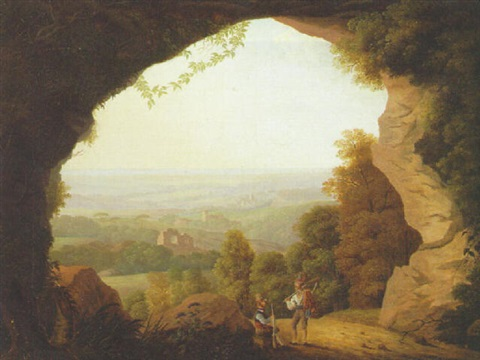 huntsmen resting at the mouth of a grotto an extensive landscape beyond by anton albers the elder