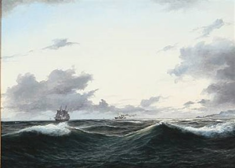 coastal scene with a sailing ship and a steamer in heavy waves by daniel hermann anton melbye