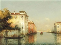 a gondolier on a giudecca canal, venice by noel georges bouvard