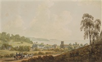 aber from the bangor road, wales and falmouth harbor, cornwall (pair) by john warwick smith