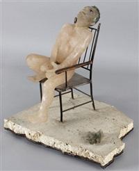 auf stuhl sitzender männlicher akt, neben ihm ein vogel by antoine leperlier