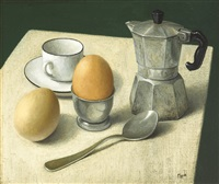 still life with coffee and eggs by stuart morle