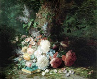 floral still life with a book at the foot of a tree by louis arbant
