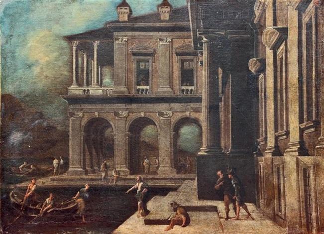 architecture de palais portuaire avec la pêche miraculeuse by viviano codazzi
