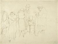 berliner straßenszene mit blumenhändlerin (vier figuren am blumenstand) by george grosz