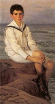 ritratto di jose nogne in riva al mare by enzo sammengo