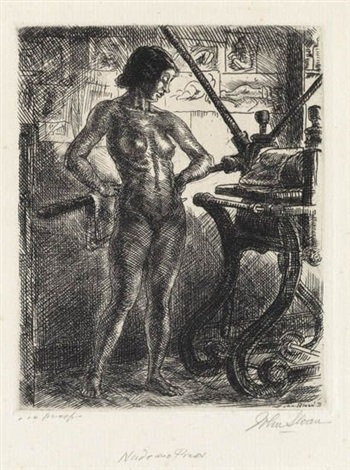 nude and etching press by john french sloan