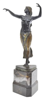 patinated bronze of a semi-nude female dancer, on faceted marble base, signed morin to base, overall height 29.5 cm high by georges morin