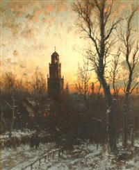 luminous sunset with man walking to church by george herbert mccord