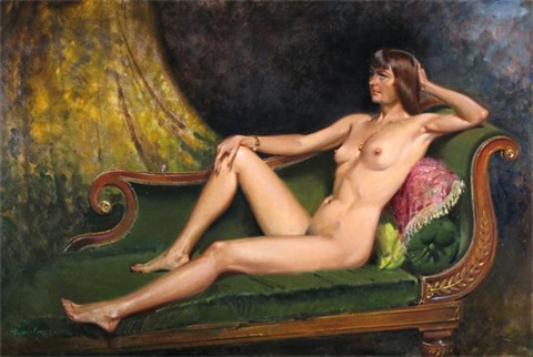 portrait of tania full length reclining by terence cuneo