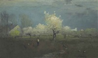 apple blossoms by george inness