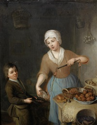 a maid and a boy weighing hazelnuts by hieronymus van der mij