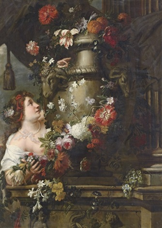 a lady adorning a sculpted urn with roses collab wgaspar pieter verburggen ii by pieter abrahamsz ykens
