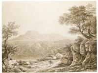 a rocky roman landscape with a traveller on horseback by johann christian reinhart