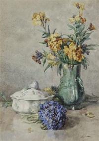 nature morte au bouquet et au légumier by françois rivoire