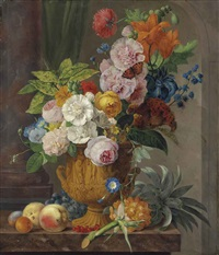 roses, lilies, a sheaf of wheat, morning glories and other flowers in a sculpted urn... by anthony oberman