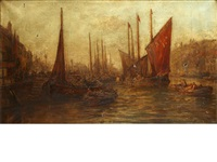 fishing boats in harbour, possibly whitby by william edward webb