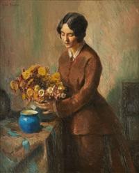 femme au bouquet de fleurs by andre brunin
