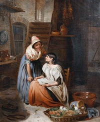 two girls in a kitchen interior by thomas webster