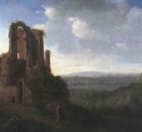 landscape with figures beside a ruin by gerrit van bronckhorst