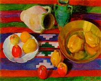 still life with apples by lidia khanamiryan