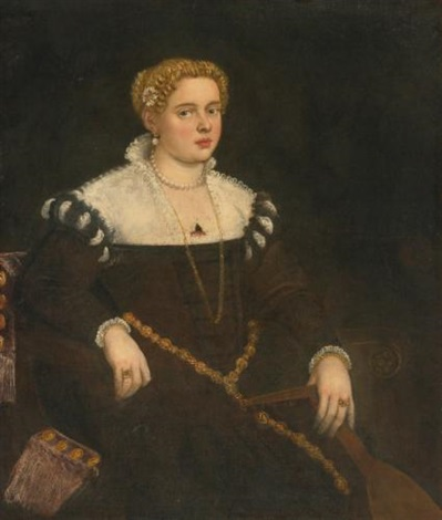portrait of a lady three quarter length seated holding a lute by domenico tintoretto