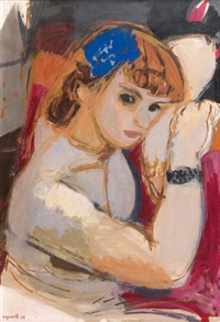 jeune femme accoudée by raymond jean legueult