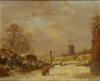 winterlandschap met molen en personages by albert eduard moerman