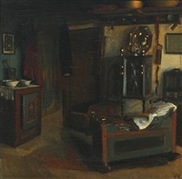 rustic style interior with a cradle and an owen by valdemar kornerup