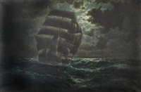 a barque in the moonlight by martin franz glüsing (francis-glüsing)