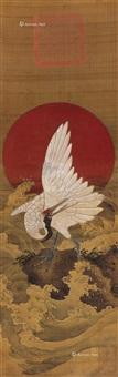 仙鹤 立轴 绢本设色 by emperor xuantong