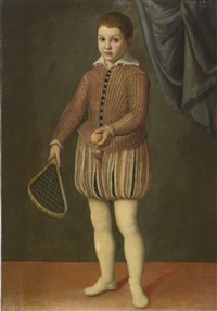 portrait of a boy holding a tennis racket and ball, wearing a pink slashed doublet and hose by sofonisba anguissola