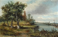 a river landscape with trees by hermanus jan hendrik rijkelijkhuysen
