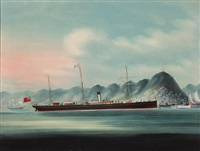 "the steamship ""africa"" in hong kong harbor (+ a companion ship painting; pair) by anglo-chinese school (19)"
