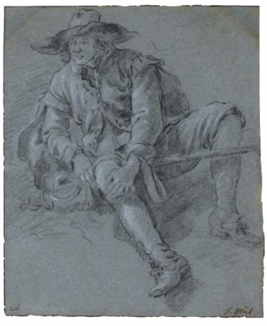 a man seated on the ground study by jan miel