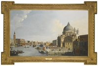 venice; view of the church of santa maria della salute from the grand canal, looking toward the molo by canaletto
