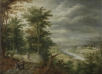 bandits attacking travelers in a wood, an open river landscape in the distance by david vinckboons