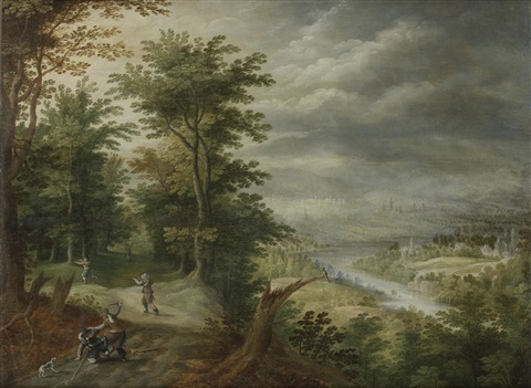 bandits attacking travelers in a wood an open river landscape in the distance by david vinckboons