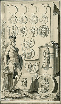 allegorische darstellung mit serapisfigur, antiken münzen und kameen (design for book illustration) by jan goeree