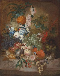 roses, morning glory, an iris and other flowers, with grapes, peaches, pears, a pineapple and other fruit, and a mouse, butterflies, snails by jan van os