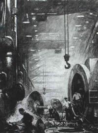 editorial illustration: inside a factory by thornton oakley